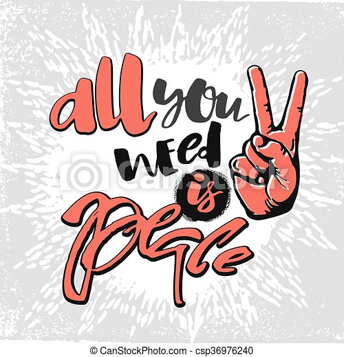 Peace hand drawn linotype made symbol. - csp36976240
