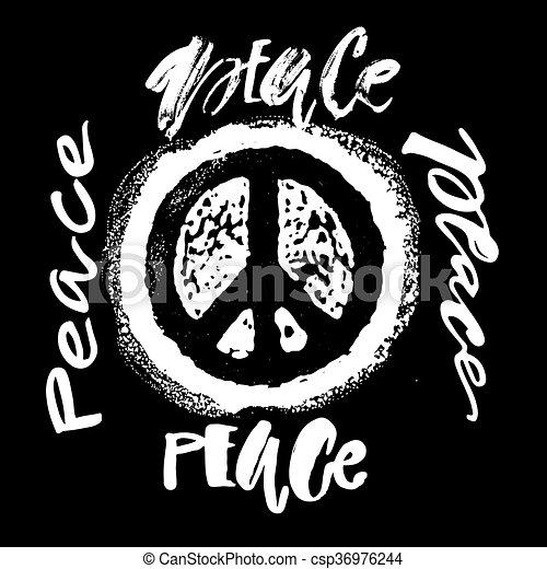 Peace hand drawn linotype made symbol. - csp36976244