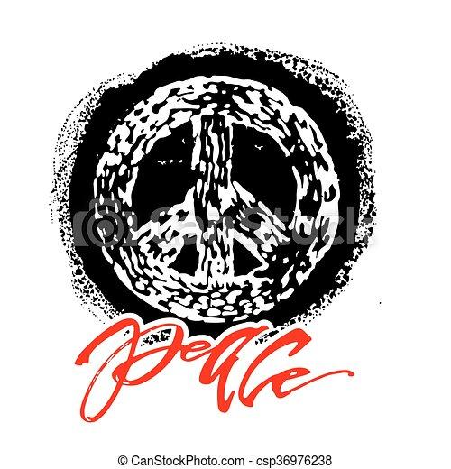 Peace hand drawn linotype made symbol. - csp36976238
