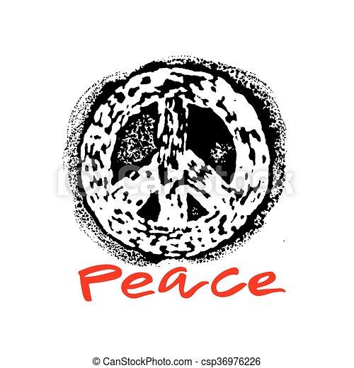 Peace hand drawn linotype made symbol. - csp36976226