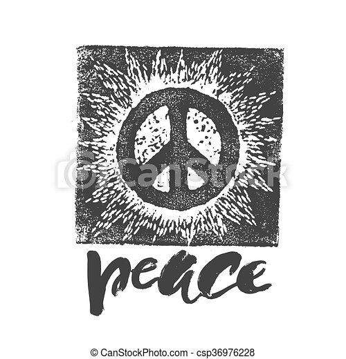 Peace hand drawn linotype made symbol. - csp36976228