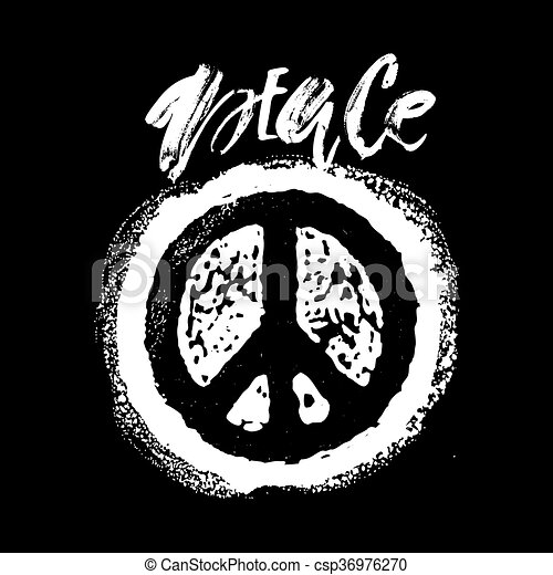 Peace hand drawn linotype made symbol. - csp36976270