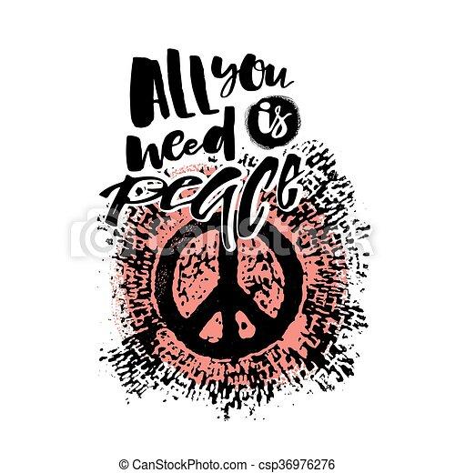 Peace hand drawn linotype made symbol. - csp36976276