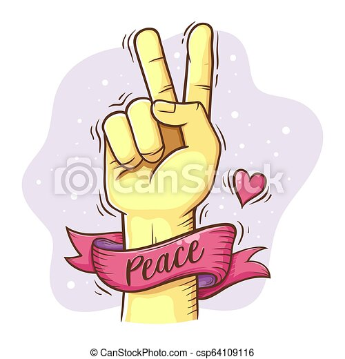 Peace Hand Sign With Ribbon - csp64109116
