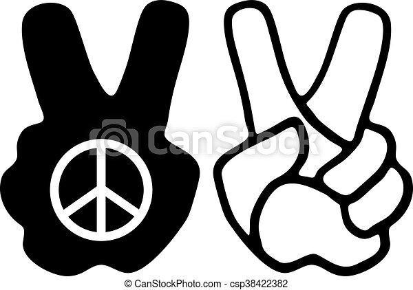 peace hand symbol - csp38422382