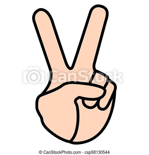 Peace hand symbol - csp58130544