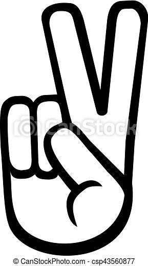 Peace hand with two fingers - csp43560877