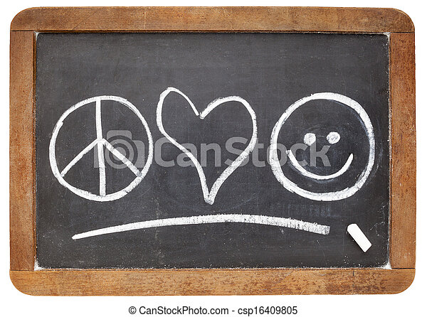 Peace Love And Happiness Symbols White Chalk Sketch On A Vintage