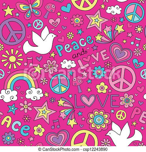 Peace Love Dove Doodles Pattern - csp12243890