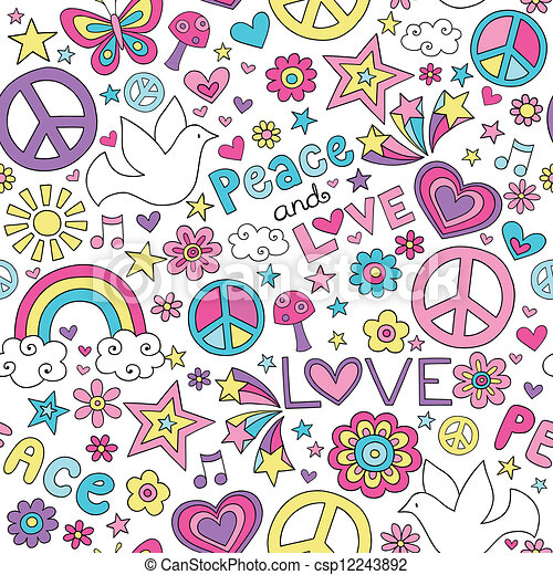 Peace, Love & Dove Doodles Pattern - csp12243892