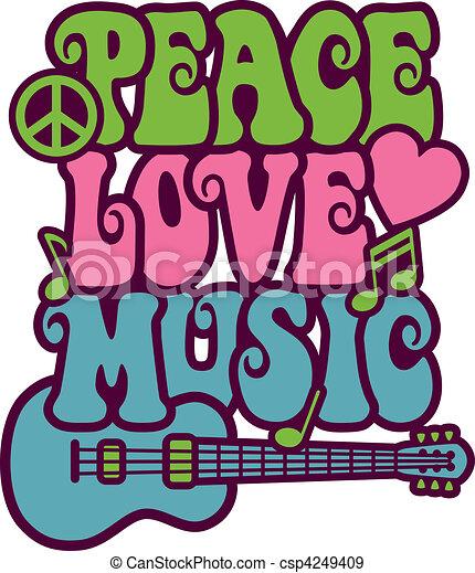 Peace Love Music - csp4249409