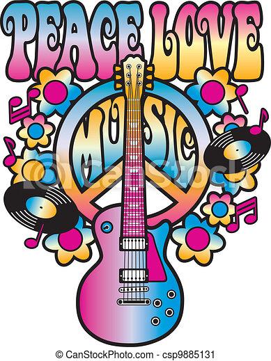 Peace Love Music - csp9885131