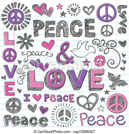 Peace & Love Sketchy Doodles Vector - csp10266427
