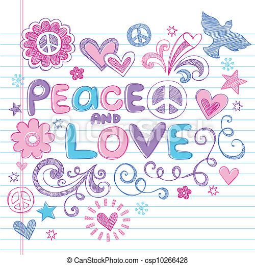 Peace & Love Sketchy Doodles Vector - csp10266428