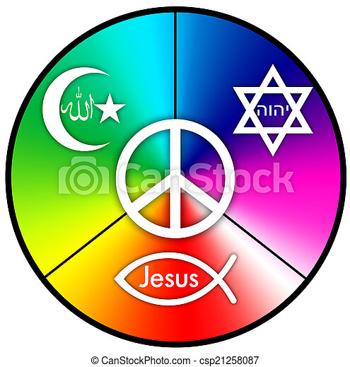 A Peace Symbol With Symbols Of Judaism Islam And Christianity In