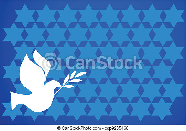 peace pigeon on  blue background - csp9285466