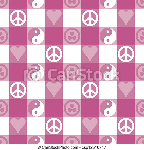 Peace Plaid in Pink - csp12510747