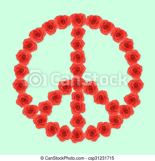 Peace shape red rose flowers on mint green background