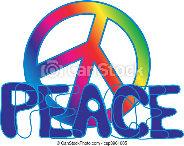 Peace Sign And Peace Text Hand Drawn Peace Text In Rainbow