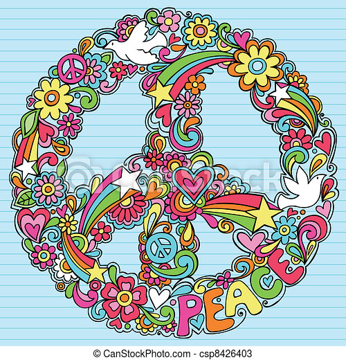 Peace Sign Dove Psychedelic Doodles - csp8426403