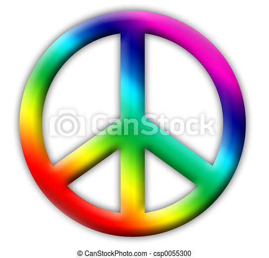 Peace Sign Rainbow Colored Embossed Peace Icon