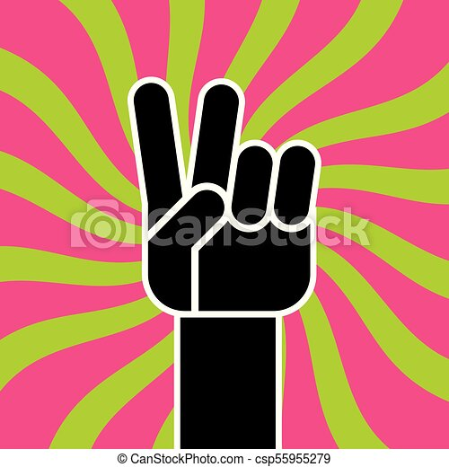 Peace Sign Hand Gesture Flat Vector Drawing Illustration Of