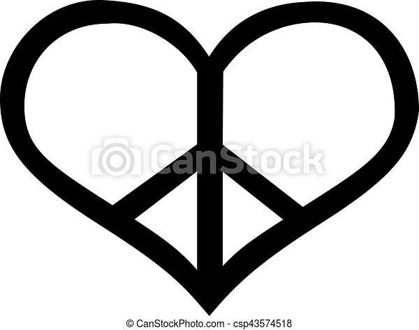 peace sign in heart shape rh canstockphoto com Hearts and Peace Signs Hearts and Peace Signs