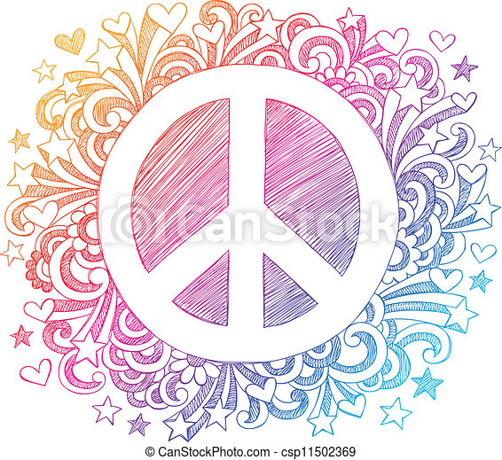 Peace Sign Sketchy Doodle Vector - csp11502369