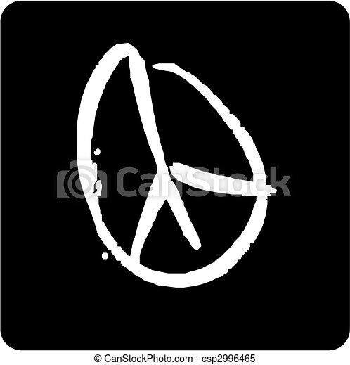 Peace Symbol White Peace Icon On Black Background Clipart Vector