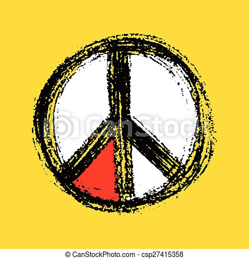Peace symbol drawing. - csp27415358