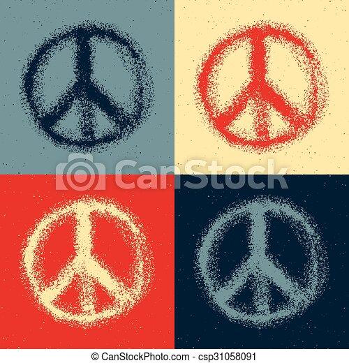 Peace symbol drawing. - csp31058091