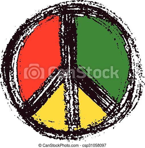 Peace symbol drawing. - csp31058097