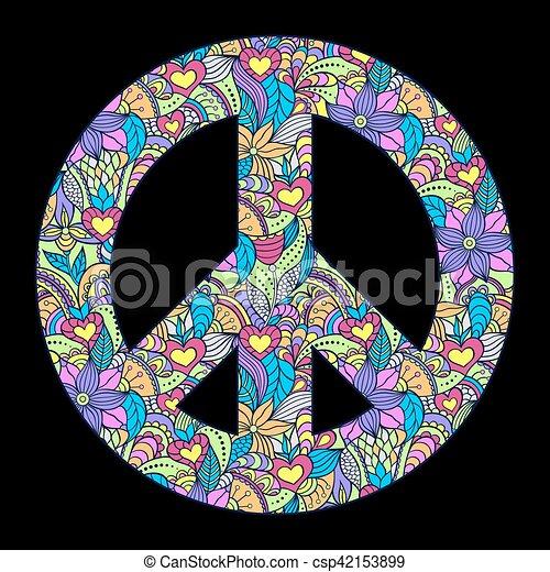 peace symbol on black background - csp42153899