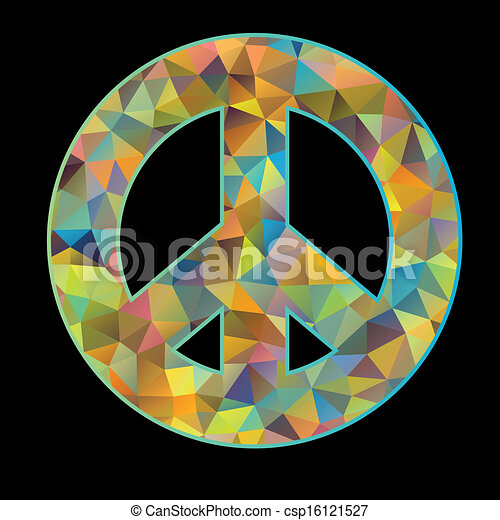 peace symbol on black background - csp16121527