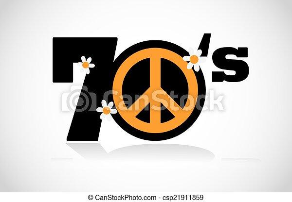 peace symbol seventies - csp21911859
