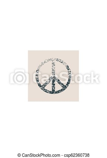 Peace Symbol Vector in grunge style - csp62360738