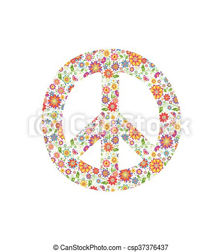 Peace Symbol With Flowers Print Vectors Search Clip Art
