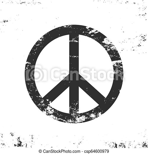 Peace symbol with grunge texture, black and white vintage design - csp64600979