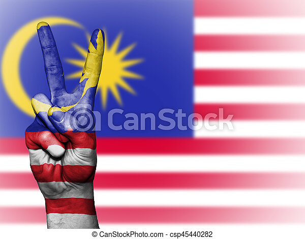 Peace Symbol With National Flag Of Malaysia Hand Showing The