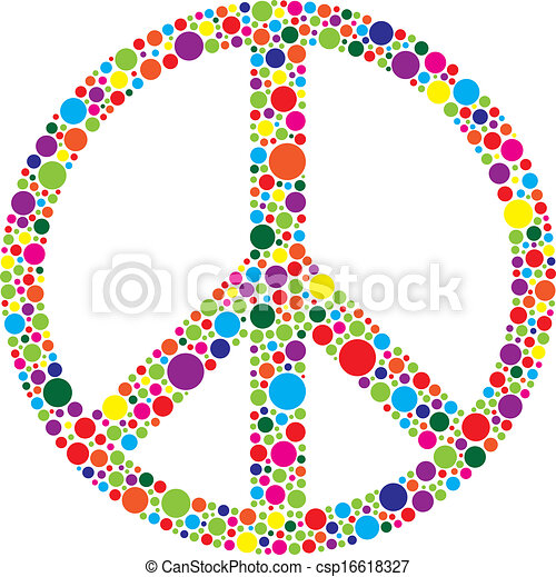 Peace Symbol with Polka Dots Illustration - csp16618327