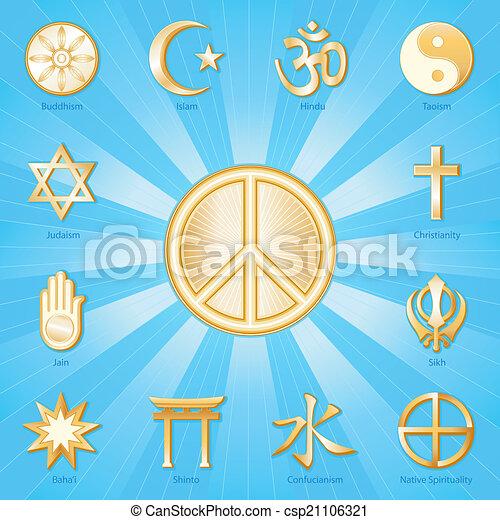 Peace Symbol, World Religions - csp21106321