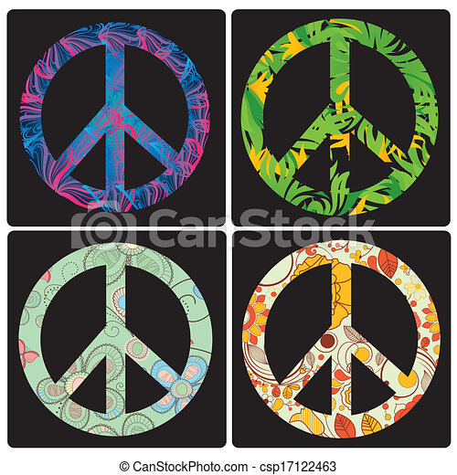 Four Colored Peace Symbols With Different Elements Inside