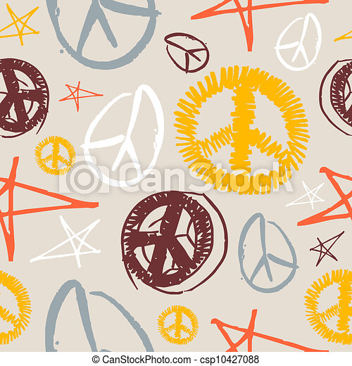 Peace Symbols Seamless Background Colorful Peace And Love Hand