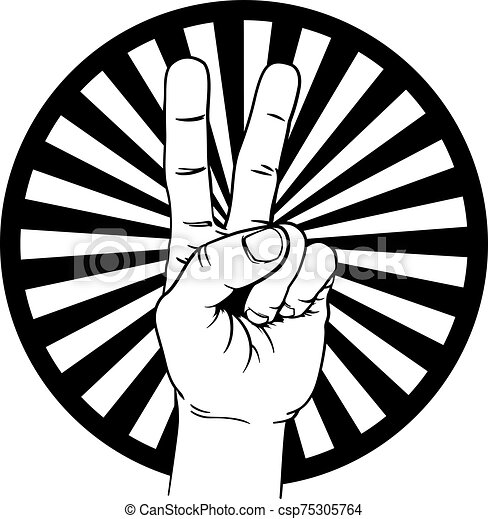 Peace Victory Hand Sign - csp75305764