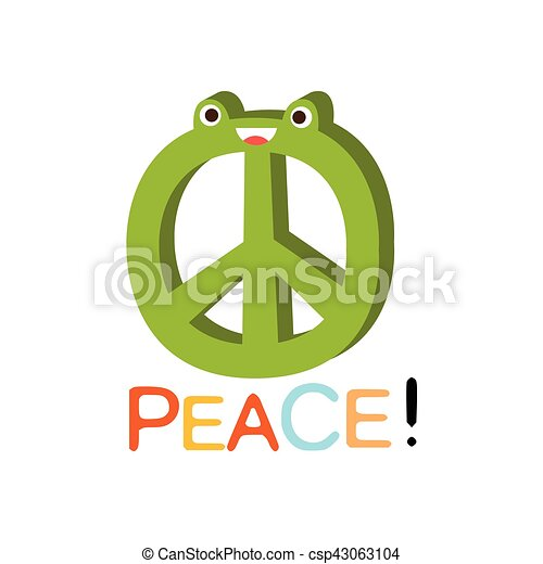 Peace Word And Corresponding Illustration Cartoon Character Emoji