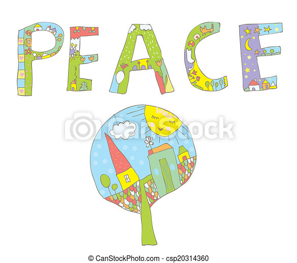 Peace word design with tree, flowers, birds for children - csp20314360
