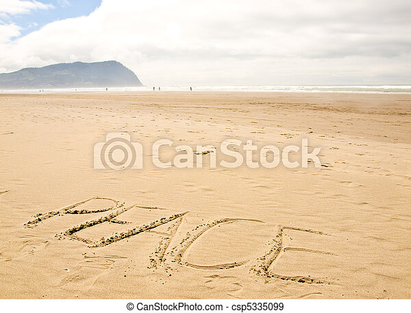 Peace Written in the Sand on a Sunny Day - csp5335099