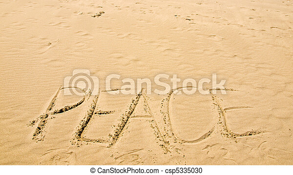 Peace Written in the Sand on a Sunny Day - csp5335030