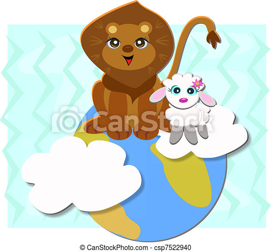 Peaceful Earth with Lion and Sheep - csp7522940