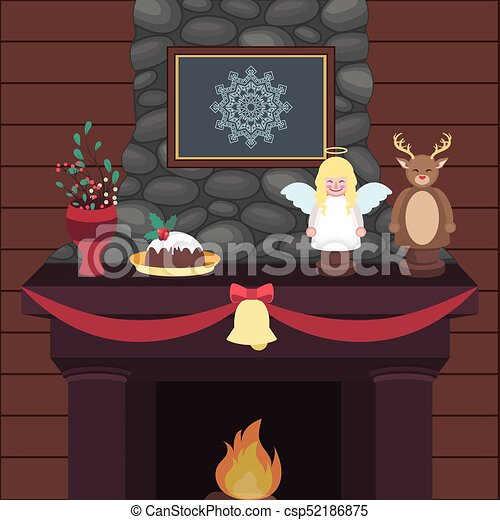 Peaceful Indoor Christmas Scene With A Fireplace And Decorations